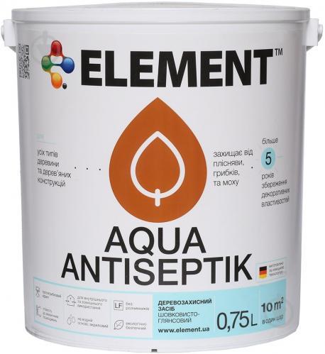 Лазурь-антисептик Element Aqua безбарвний шелковистый глянец 0,75 л - фото 2