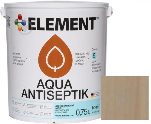 Лазурь-антисептик Element Aqua безбарвний шелковистый глянец 0,75 л - фото 1