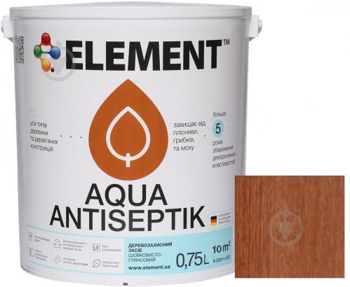 Лазурь-антисептик Element Aqua махагон шелковистый глянец 0,75 л - фото 1