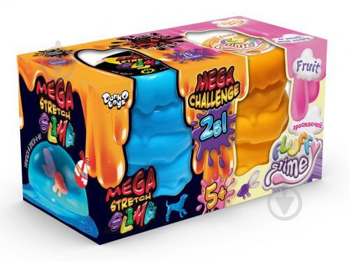 Ароматний слиз-лизун Danko Toys 2 в 1 Mega Stretch Slime та Fluffy Slime (укр.) FLS-03-01U - фото 1