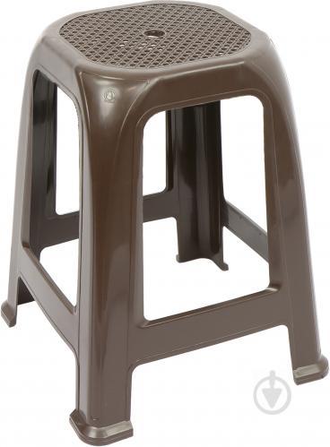 Табурет пластиковий Алеана Піф 46x36,5x36,5 см темно-коричневий - фото 1