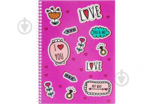 Блокнот Valentine: Stickers А5 80 арк. клітинка E21951-07 Economix - фото 1