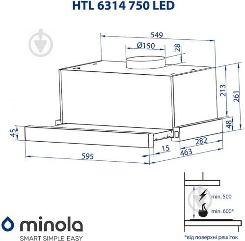 Витяжка Minola HTL 6314 BL 750 LED - фото 15