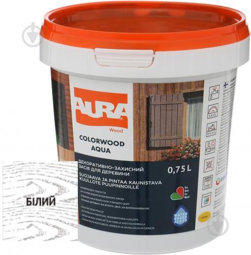 Лазурь Aura® ColorWood Aqua белый полумат 0,75 л - фото 1