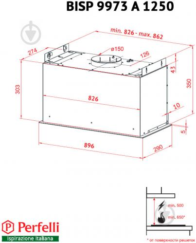 Витяжка Perfelli BISP 9973 A 1250 IV LED Strip - фото 10
