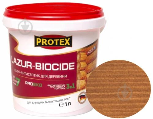 Лазурь-антисептик Protex 3 в 1 тик шелковистый мат 1 л - фото 1