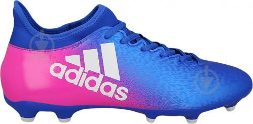 Футбольные бутсы Adidas X 16.3 FG Firm Ground Cleats BB5641 р. 8.5 сине-розовый