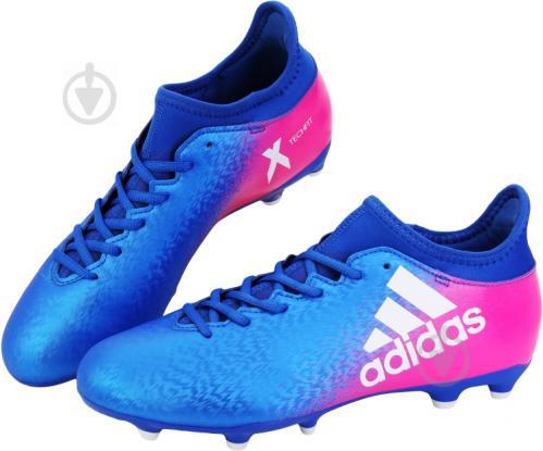 Футбольные бутсы Adidas X 16.3 FG Firm Ground Cleats BB5641 р. 8.5 сине-розовый - фото 2