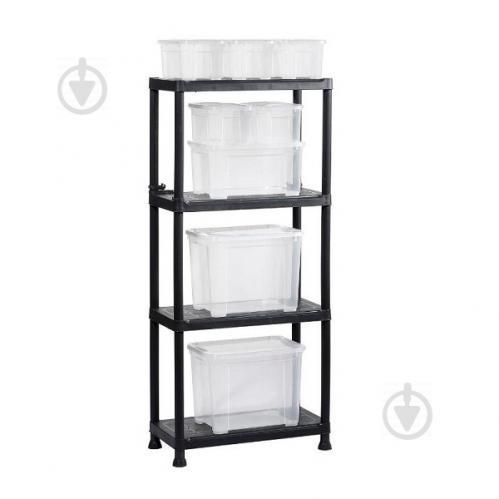Стеллаж пластиковый универсальный KIS Plus-Shelf 60/4 1350x600x300 мм черный - фото 1