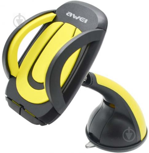 Автодержатель AWEI X7 Car Mobile Holder With Suction Cup Black/Yellow (86268) - фото 1