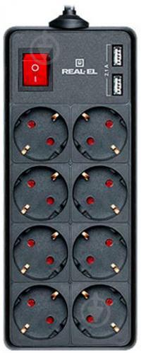 Фільтр-подовжувач REAL-EL із заземленням 8 гн. чорний 1,8 м RS-8 PROTECT USB, 1.8m, black - фото 1