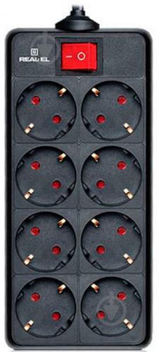 Фільтр-подовжувач REAL-EL із заземленням 8 гн. чорний 1,8 м RS-8 PROTECT, 1.8m, black (REA - фото 1