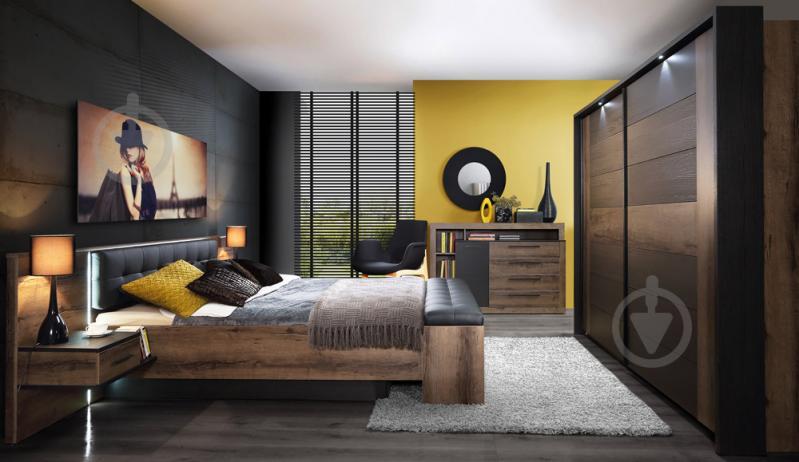 Комплект для спальні Forte Meble Bellevue BLQL161 N09 160x200 см дуб болотний/дуб чорний - фото 2