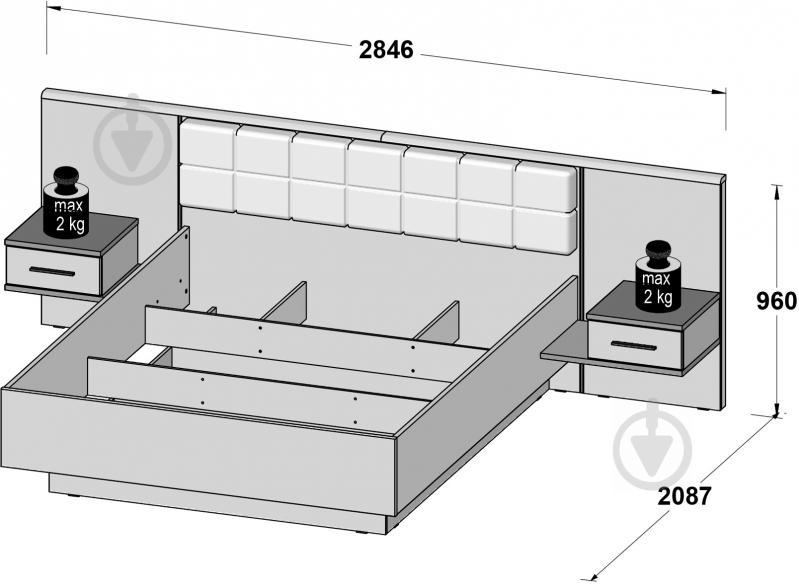 Комплект для спальні Forte Meble Bellevue BLQL161 N09 160x200 см дуб болотний/дуб чорний - фото 3
