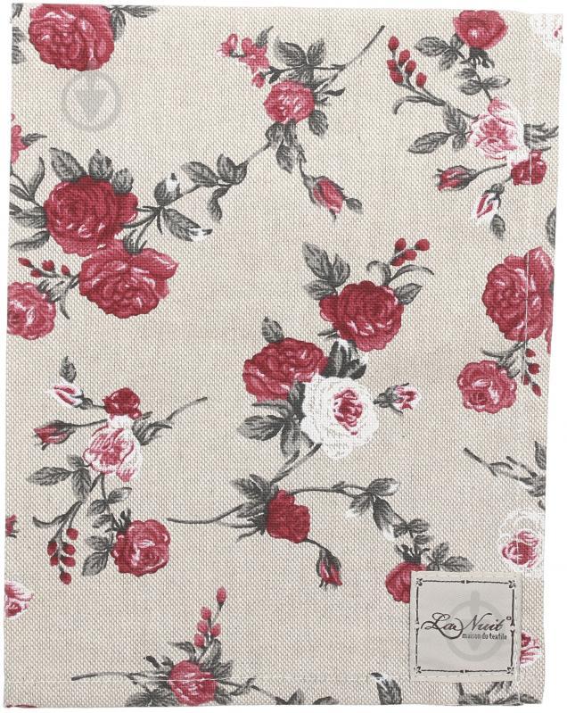 Серветка La Nuit Вінтаж Троянди 35x45 см бежевий із червоним - фото 1