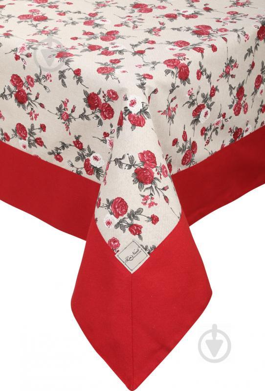 Скатертина Вінтаж Троянди з кантом 136x220 см бежевий із червоним La Nuit - фото 1