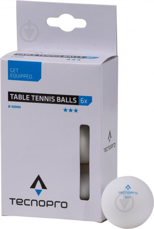 Мячи для настольного тенниса TECNOPRO 3 Star TT-Ball-6 white 66964 - фото 1