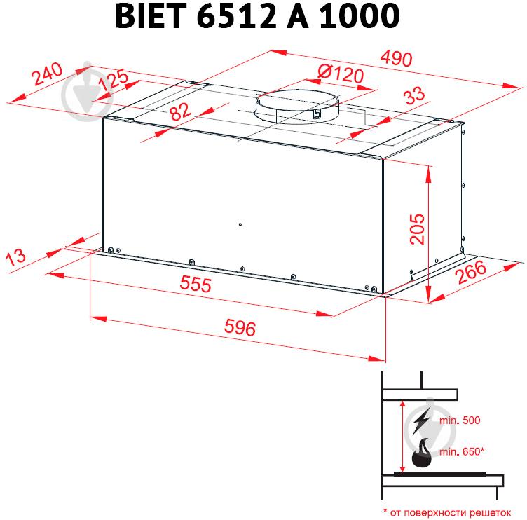 Витяжка Perfelli BIET 6512 A 1000 DARK IV LED - фото 8