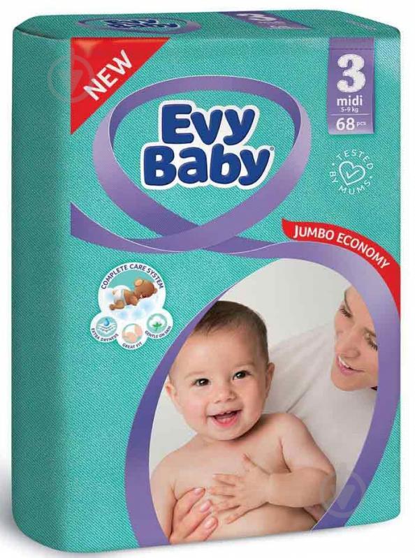 Підгузки Evy Baby Міді Джамбо упаковка 5-9 кг 68 шт. - фото 1