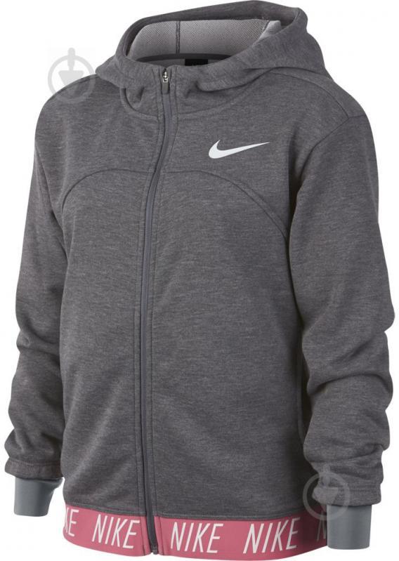 Джемпер Nike G NK DRY HOODIE FZ STUDIO р. L серый 939533-091 - фото 1