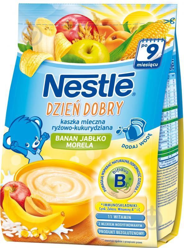 Каша молочная Nestle рисово-кукурудзяна с бананом, яблоком и абрикосом 7613033071805 230 г - фото 1