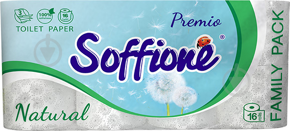 Туалетная бумага Soffione Natural Family pack трехслойная 16 шт. - фото 1