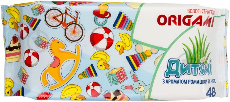 Вологі серветки Origami Детские с ароматом ромашки и алоэ 48 шт. - фото 1