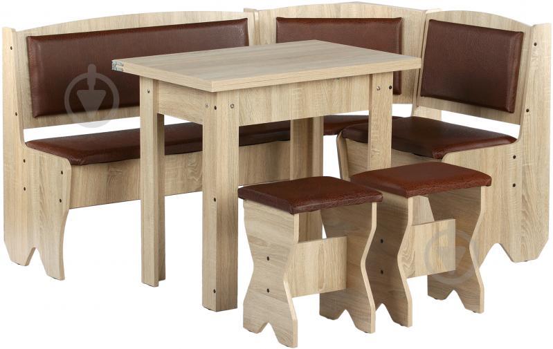 Куточок кухонний Компаніт Імператор зі столом та 2 табуретками дуб сонома бронза - фото 1