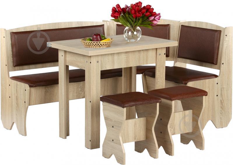 Куточок кухонний Компаніт Імператор зі столом та 2 табуретками дуб сонома бронза - фото 2