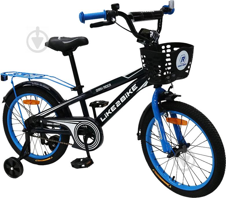 Велосипед дитячий Like2bike Dark Rider 18'' чорний із синім 201805