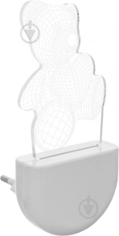 Нічник Aukes Ведмежатко 3D LED RGB 0.5 Вт білий - фото 2
