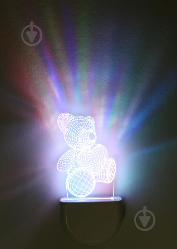 Нічник Aukes Ведмежатко 3D LED RGB 0.5 Вт білий - фото 1