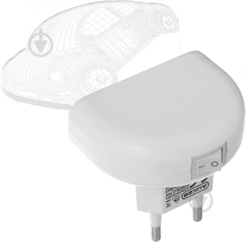 Нічник Aukes Машинка 3D LED RGB 0.5 Вт білий - фото 3