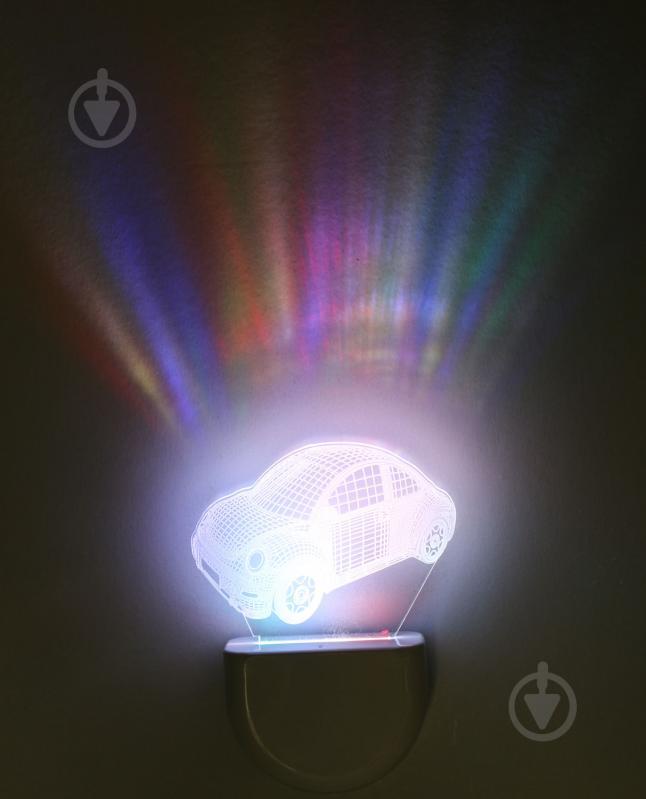 Нічник Aukes Машинка 3D LED RGB 0.5 Вт білий - фото 1