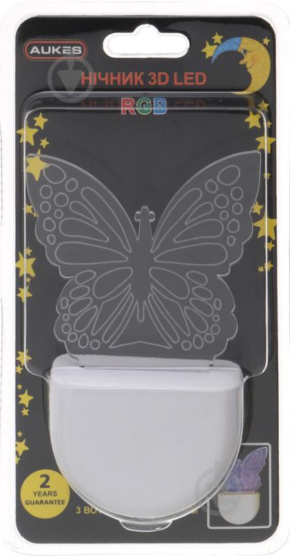 Ночник Aukes Бабочка 3D LED RGB 0.5 Вт белый - фото 4