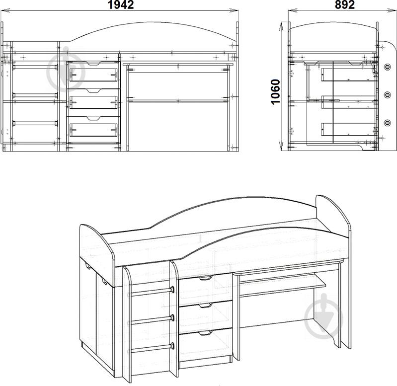 Кровать-горка Компанит Универсал 70х190 см венге - фото 3