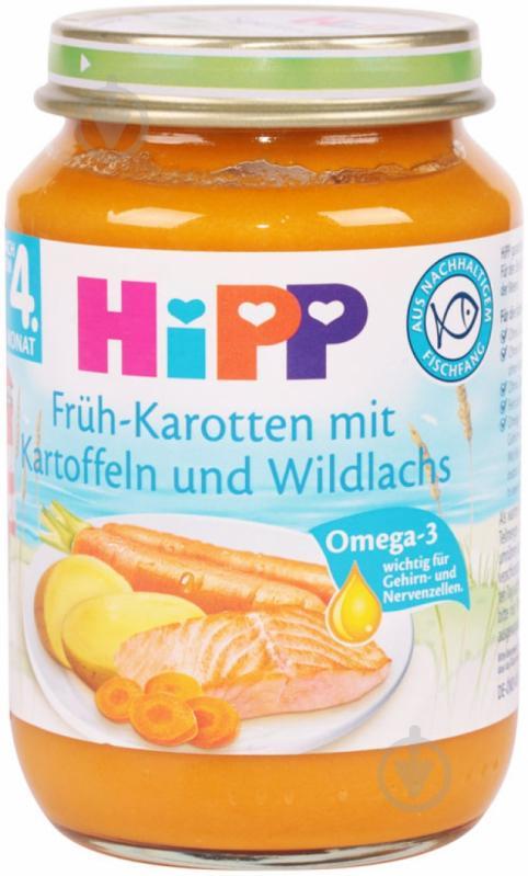 Пюре Hipp Лосось в морквяно-картопляному пюре 220 г 4062300015920 - фото 1