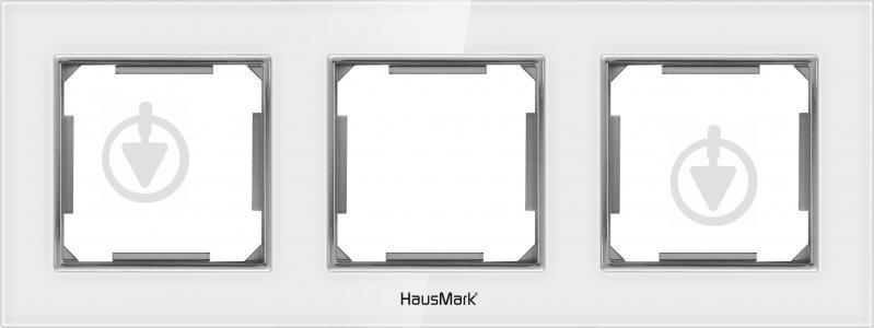 Рамка трехместная HausMark Alta универсальная белое стекло SNG-FRG.SQ20G3-WH - фото 1