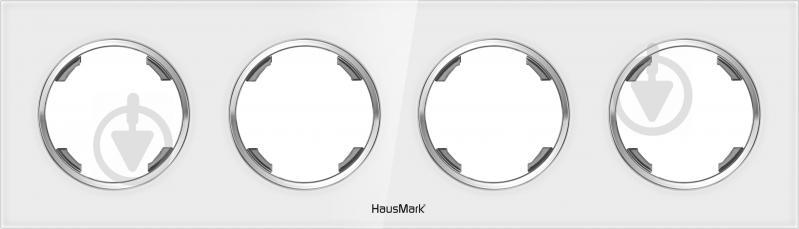 Рамка четырехместная HausMark Bela универсальная белое стекло SNG-FRG.RD20G4-WH - фото 1