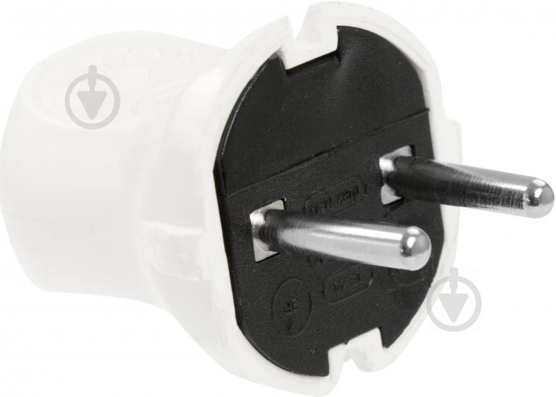 Вилка электрическая Borsan без заземления 250В 2,5А IP20 пластик белый - фото 2