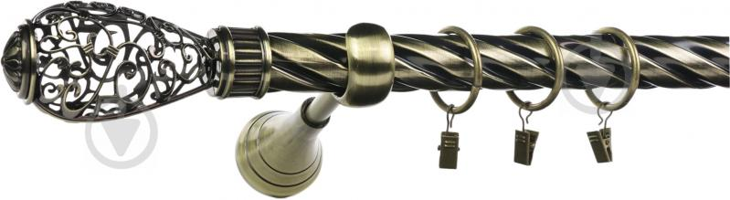 Карниз крученый Ажур Bella Vita одинарный укомплектованный d25 мм 160 см античная бронза - фото 1