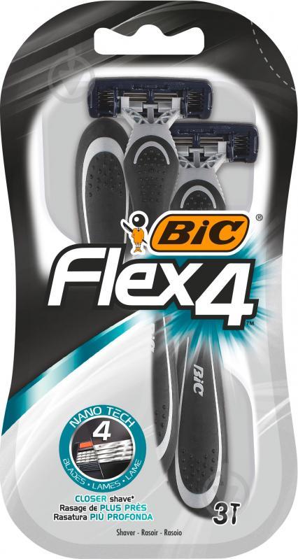 Одноразові бритви BIC ФЛЕКС 4 БЛ3 3 шт. - фото 1