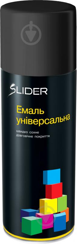 Эмаль аэрозольная RAL9005 SLIDER черный мат 400 мл - фото 1