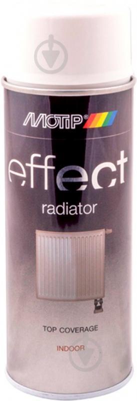 Фарба аерозольна Motip Deco Effect для побутових радіаторів білий мат 400 мл - фото 1