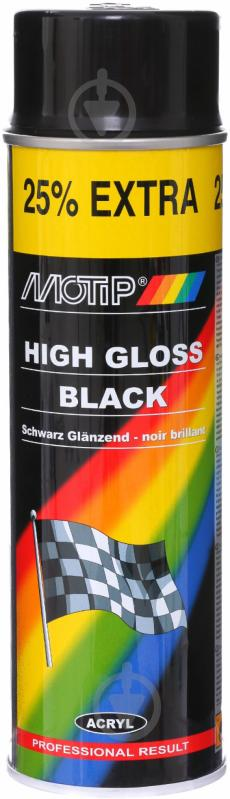 Фарба аерозольна Motip Hight gloss чорний глянець 500 мл - фото 1