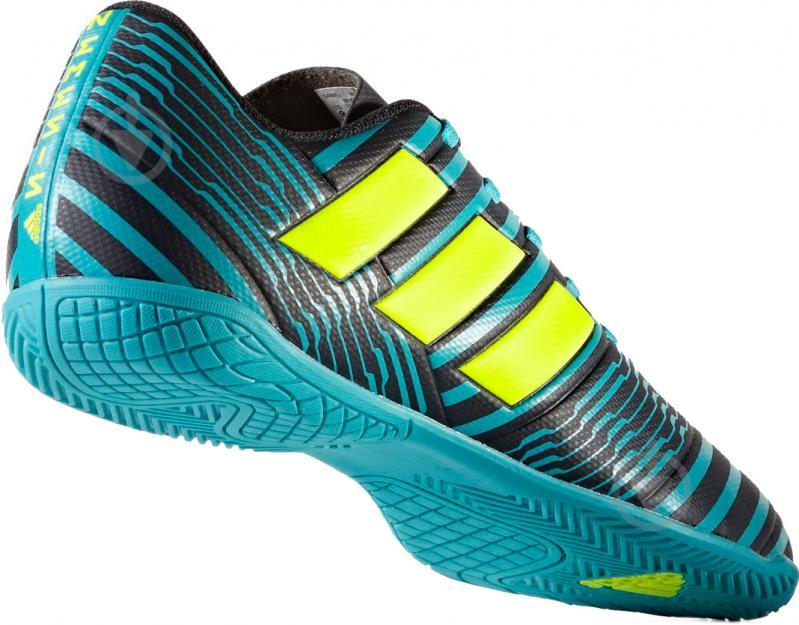 Футбольные бутсы Adidas Nemeziz IN S82472 р. 10 черно-синий с зеленым - фото 4