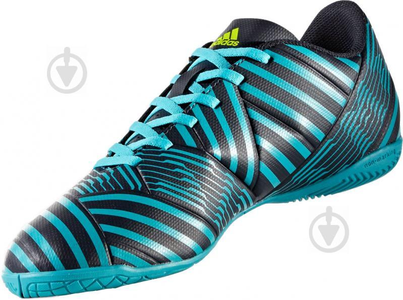 Футбольные бутсы Adidas Nemeziz IN S82472 р. 10 черно-синий с зеленым - фото 1