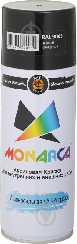 Краска MONARCA аэрозольная универсальная RAL 9005 чёрный янтарь глянец 270 мл 270 г - фото 1