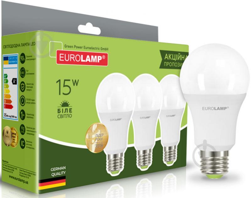 Лампа светодиодная Eurolamp MLP-LED-A60-15274(3) 3 шт./уп. 15 Вт A60 матовая E27E27 220 В 4000 К