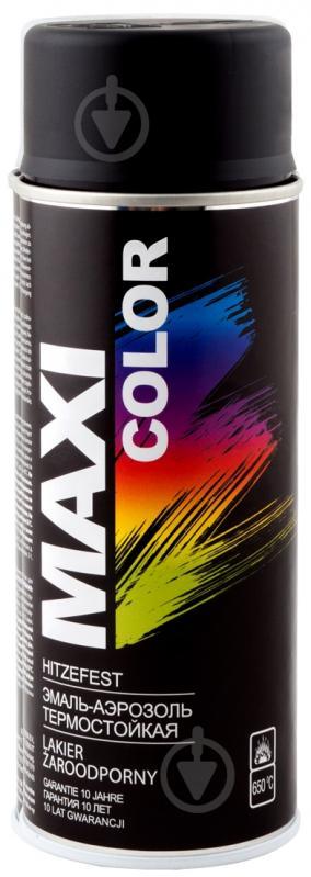 Эмаль аэрозольная термостойкая Maxi Color черный мат 400 мл - фото 1